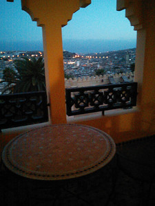 Our terrace at sunset at the Sofitel Palais Jamai Sofitel Palais Jamai in Fez, Morocco.