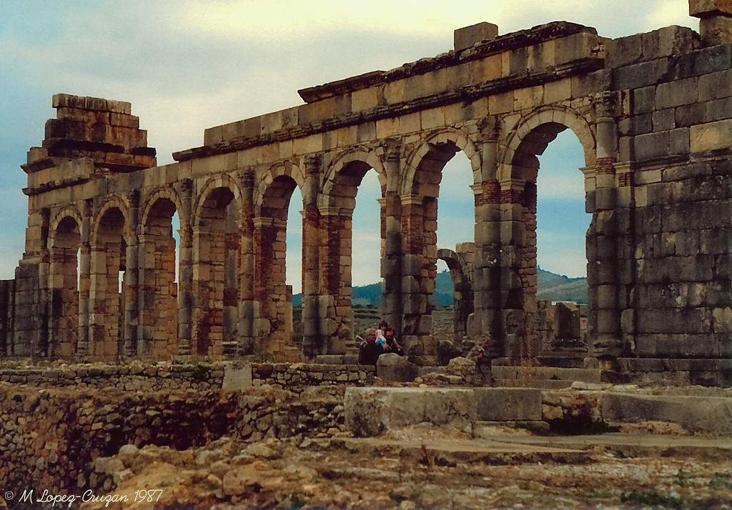 Roman ruins of Volubilis, located very close to the sacred city of Moulay Idriss.