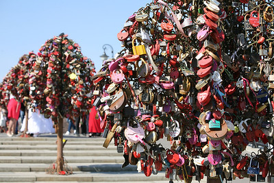 Locks of Love, Moscow  One of many purpose-built iron trees on a bridge across the Vodootvodny Canal in Moscow completely covered in love padlocks. You would see may newly weds near the bridge for photos.