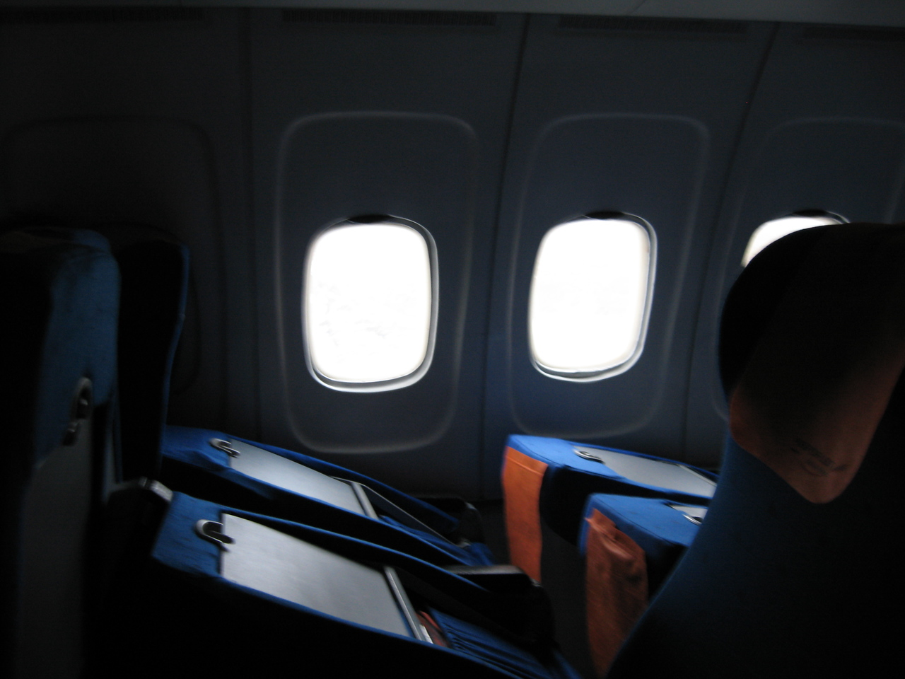 Apparently they've got this new braking system on the TU-154s - all the seats slam forward upon landing.  I actually was zonked out and had the Zune MP3 player cranked - I had no idea we were landing until we landed and the pilot stomped on the brakes.