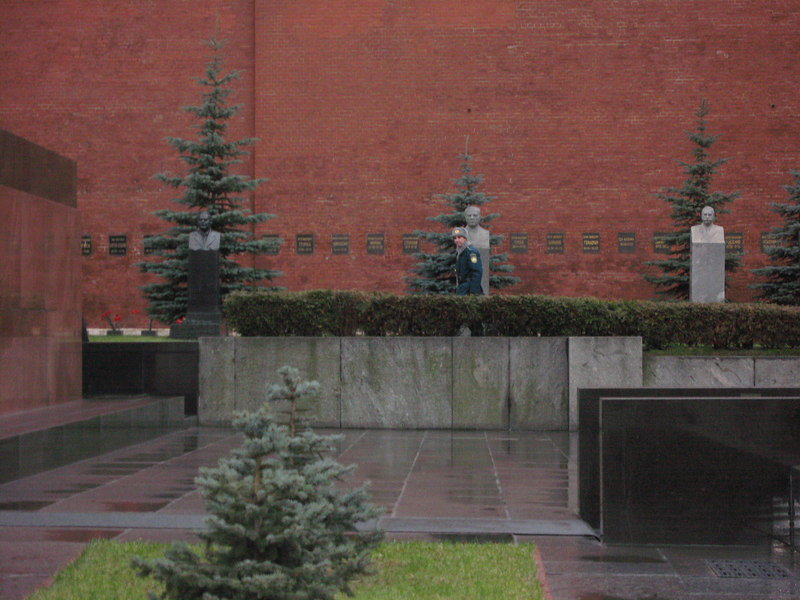 Guard walking the walk behind Lenin's tomb.  There are other notables buried against the Kremlin wall behind Lenin's tomb - most well known is Stalin.