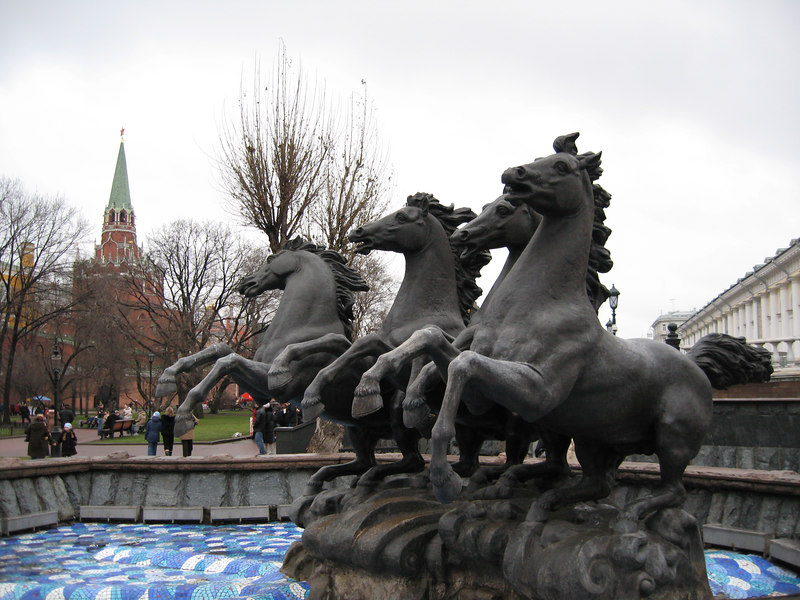 I want to call this 'the four horsemen', but, of course, there are no men on the horses and the apocalypse hasn't happened just yet.  Go figure.  A statue near the Kremlin.  That's a Kremlin watchtower in the background.