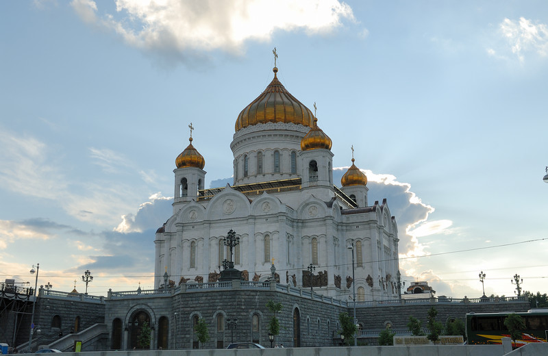 The Cathedral of Christ the Saviour (Russian: Хра́м Христа́ Спаси́теля) is the tallest Eastern Orthodox Church in the world. It is situated in Moscow, on the bank of the Moskva River, a few blocks west of the Kremlin