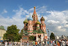 The Cathedral of Intercession of the Virgin on the Moat (Russian: Собор Покрова что на Рву or simply Pokrovskiy Cathedral, better known as the Cathedral of Saint Basil the Blessed or Saint Basil's Cathedral - Russian: Собор Василия Блаженного) is a multi-tented church on the Red Square in Moscow that also features distinctive onion domes. The cathedral is traditionally perceived as symbolic of the unique position of Russia between Europe and Asia.<br /> <br /> The cathedral was commissioned by Ivan IV (also known as Ivan the Terrible) and built between 1555 and 1561 in Moscow to commemorate the capture of the Khanate of Kazan. In 1588 Tsar Fedor Ivanovich had a chapel added on the eastern side above the grave of Basil Fool for Christ (yurodivy Vassily Blazhenny), a Russian Orthodox saint after whom the cathedral was popularly named.<br /> <br /> Saint Basil's is located at the southeast end of Red Square, just across from the Spasskaya Tower of the Kremlin. Not particularly large, it consists of nine chapels built on a single foundation. The cathedral's design follows that of contemporary tented churches, notably those of Ascension in Kolomenskoye (1530) and of St John the Baptist's Decapitation in Dyakovo (1547).