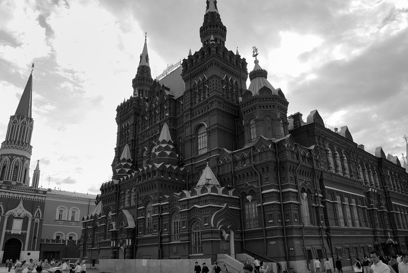 The State Historical Museum of Russia (Государственный Исторический музей) is a museum of Russian history wedged between Red Square and Manege Square in Moscow. Its exhibitions range from relics of the prehistoric tribes inhabiting present-day Russia, through priceless artworks acquired by members of the Romanov dynasty. The total number of objects in the museum's collection numbers in the millions.<br /> <br /> The spot where the museum now stands was formerly occupied by the Principal Medicine Store, built on the order of Peter the Great in the Moscow baroque style. Several rooms in that building housed royal collections of antiquities. Other rooms were occupied by the Moscow university, founded by Mikhail Lomonosov in 1755.