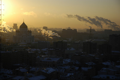 Early morning in Moscow.  Some of those streams are from the huge stem plants that still provide centralized heating to parts of the city via huge pipes full of steam, which are often above ground.  Very old school, but very effective.  Buildings heated in this manner are certainly not cold in winter.  Too hot, mainly...until the steam stops running for some reason.