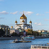 Moscow River Traffic with Khram Khrista Cathedral