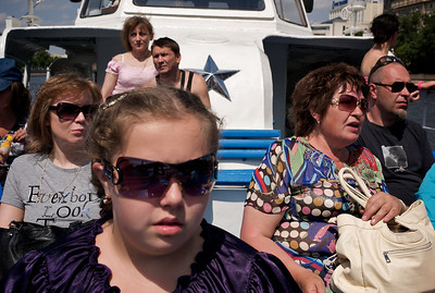 Tourists taking boat ride, Moscow.