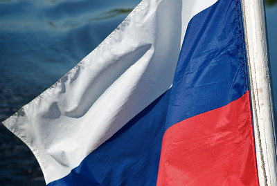 Russian flag on boat on the Volga.