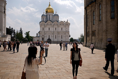 Tourist visiting the Kremlin, Moscow.