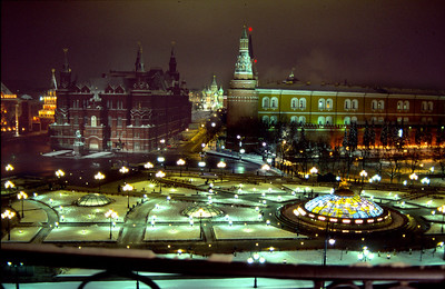 View from my hotel balcony around midnight. Hotel Nationale, 1997 Dec.