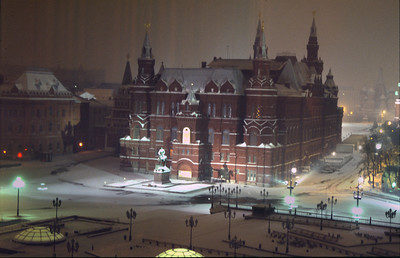 Well, it was a typical Moscow night - dinner with Russian friends, woke up at 3 am feeling a bit unwell, went out on to the balcony for some cold, fresh air - it was snowing, and looked slightly eerie as they had switched off most of the lights in the square. Amazing under these conditions that I could get a good hand-held shot of the scene (maybe vodka prevents camera-shake!)