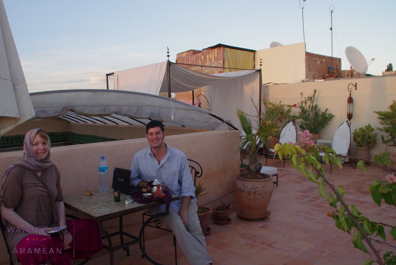 Relaxing on the rooftop, with some tea and a sunset coming soon