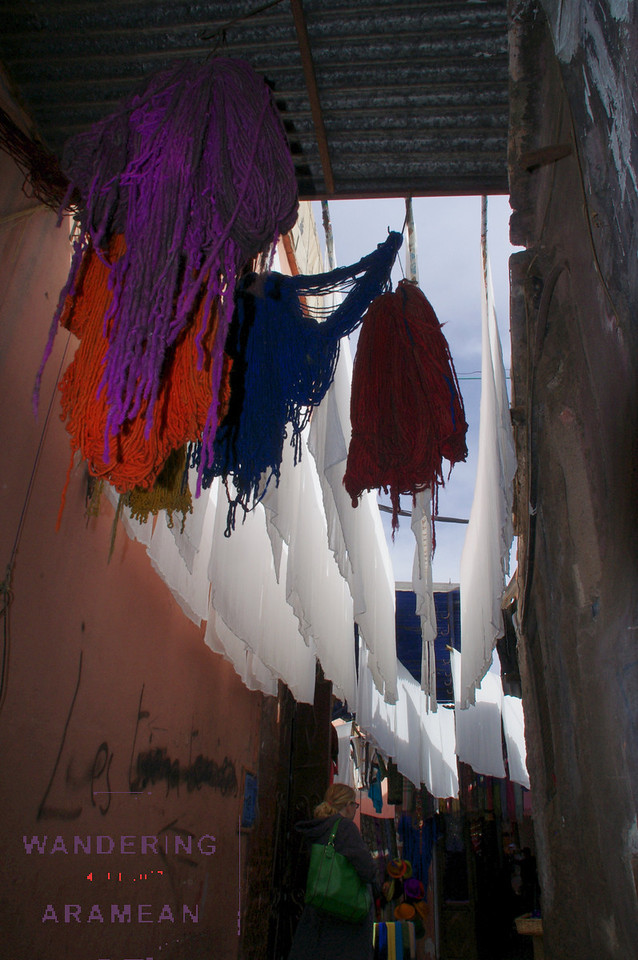 Fabric and yarns drying overhead