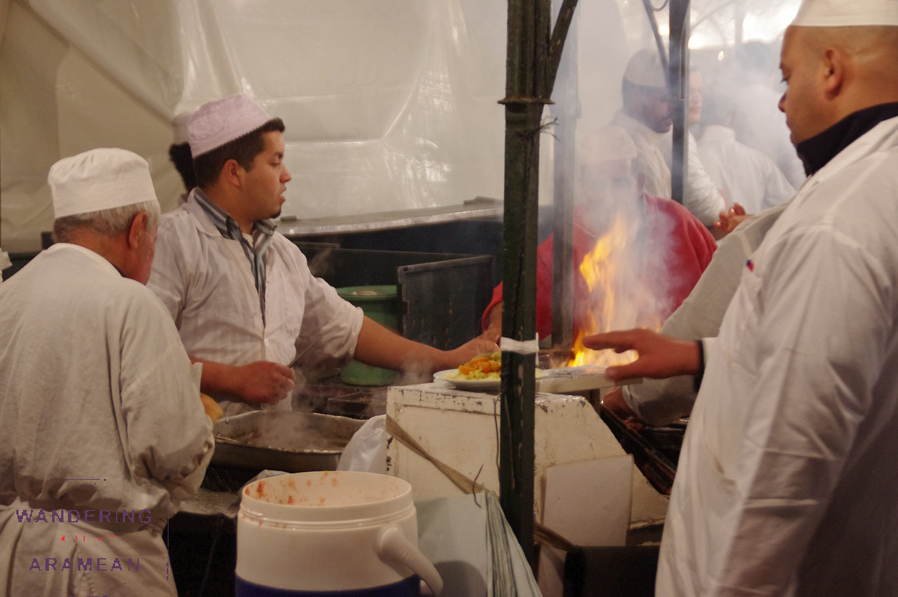 Cooking up dinner at one of the stalls in El Fna