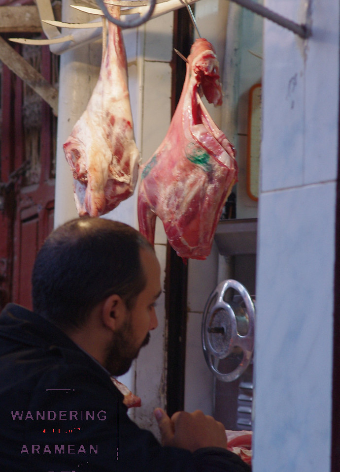 Buying meat in the open air markets