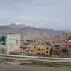La Paz with volcano in background