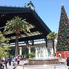 Train station in Santiago at Christmas time.  And yes, I believe those are llama-dragons on top!