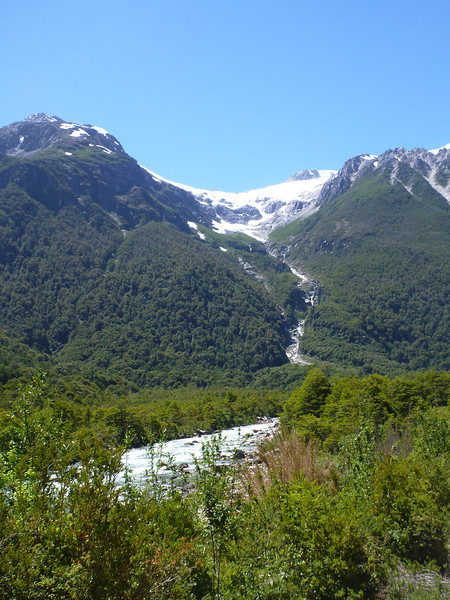 snow runoff cascading down the hillsides, Valle Exploradores