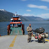 Mike and TA waiting for the ferry at Puerto Yungay.  It's about a 40 min ride, totally free, and even has a snack bar. We met some crazy Porteños on their way to boat to a glacier.  Hope they made it...