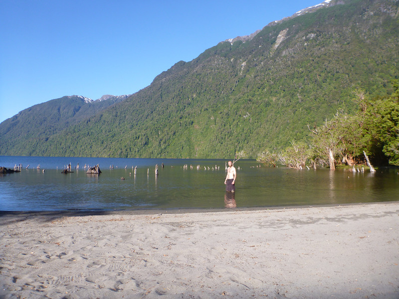 Mike wading in to a rather brisk lake, outside of Puyuhuapi