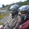 Just sittin' on a bench in full motorcycle gear... this is how we admired the view to keep the bugs at bay.  Between Villa O'Higgins and Pto Yungay