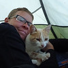 north of Cochrane, we camped with this little kitten.  It was super friendly and like being in the tent.  But its desire to explore our inflatable air mattresses got it kicked out before nightfall
