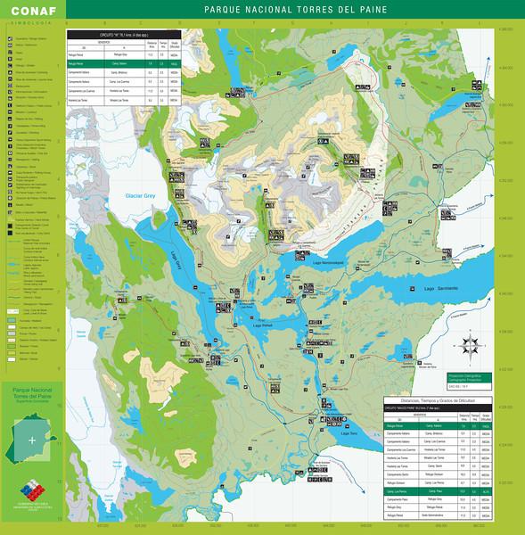 CONAF Torres del Paine trail map