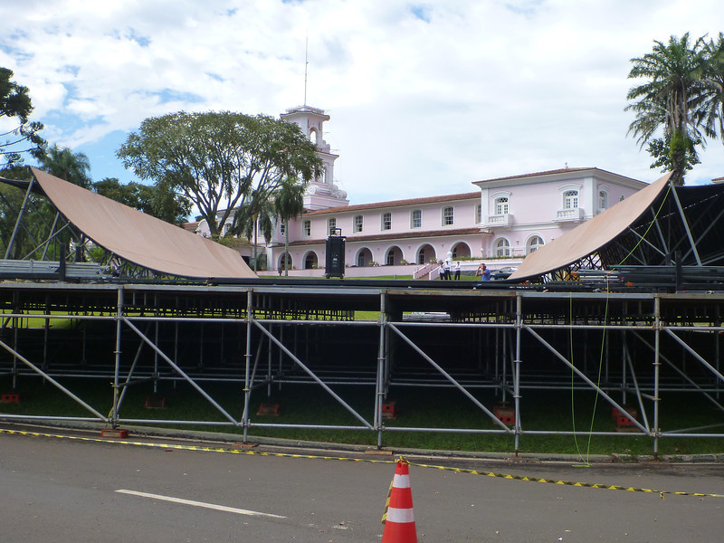Beginning stages of half pipe construction for the X-games.  We were about 10 days too early.   (Foz do Iguassu)