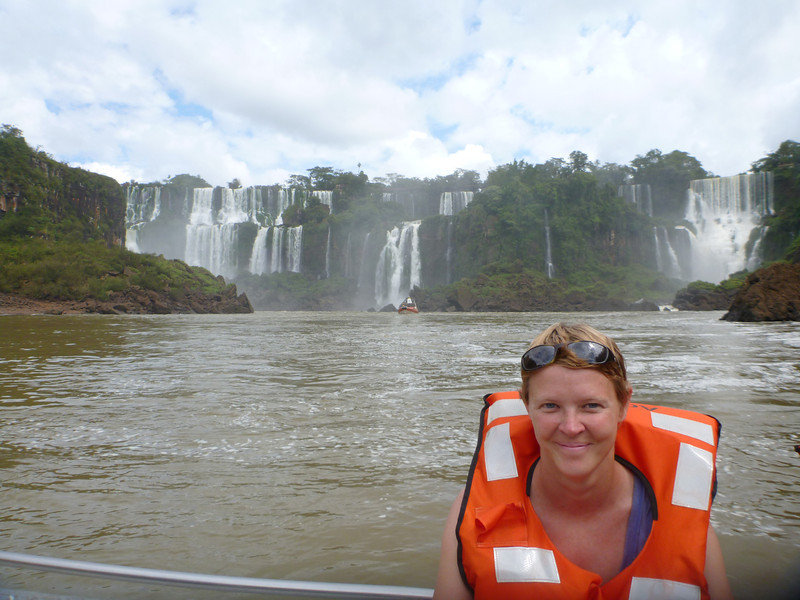Jill on the shuttle boat over to the island  (Cataratas de Iguazú)