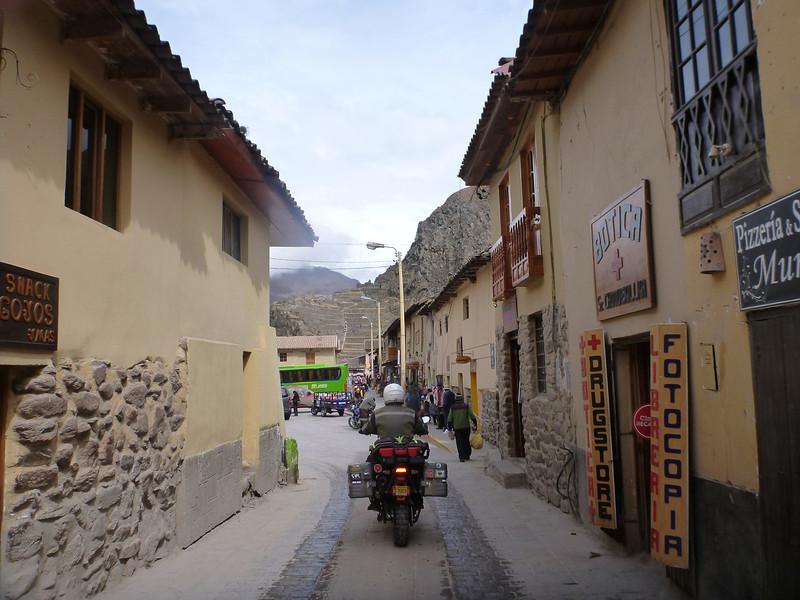Mark riding through Ollantaytambo