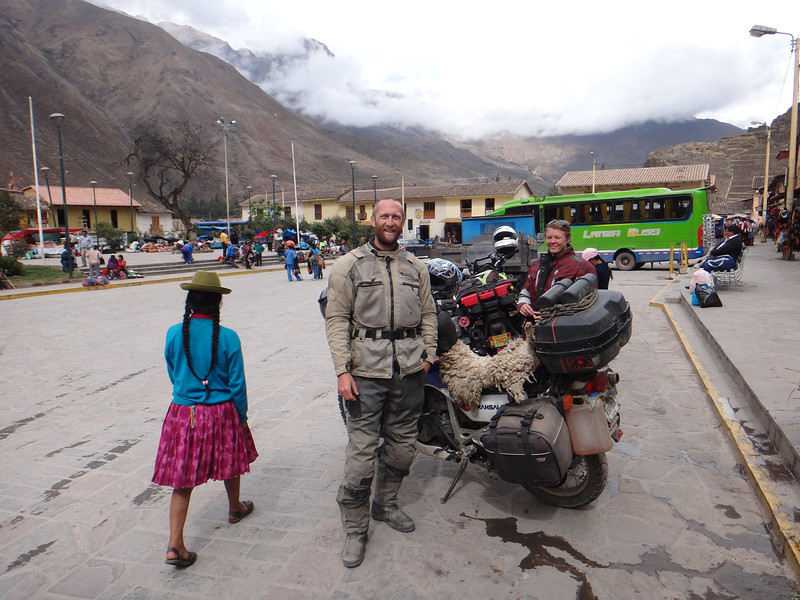 Mike and Jill with the TA on the plaza in Ollantaytambo
