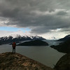 Christie overlooking Lago and Glaciar Grey, Torres del Paine