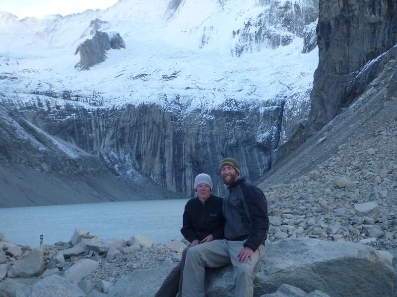 Jill and Mike with the Glaciar Torres at the mirador de las Torres, Torres del Paine