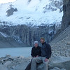 Jill and Mike with the Glaciar Torres at the mirador de las Torres, Torres del Paine