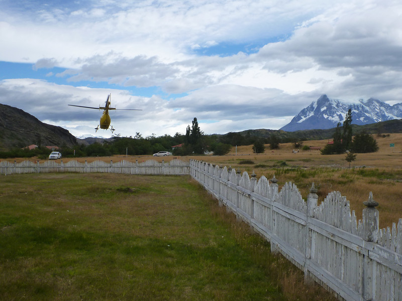 Helicopter just taking off from CONAF administration building, Torres del Paine