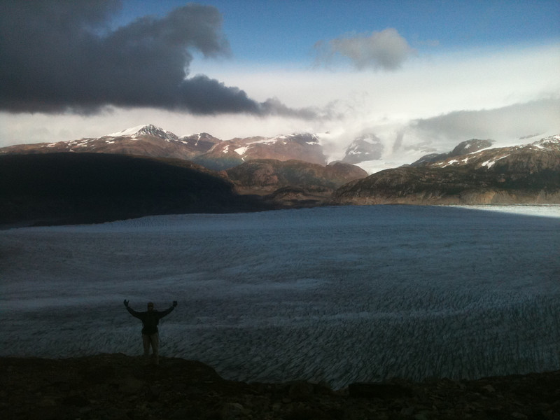 Mike happily in front of a huge sheet of ice, Torres del Paine