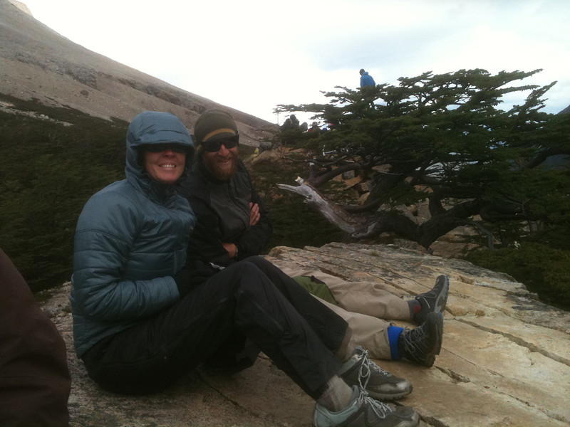 Jill and Mike trying to stay warm, top of Valle Francés, Torres del Paine