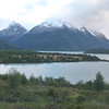 View from afar of Refugio Dickson, Torres del Paine