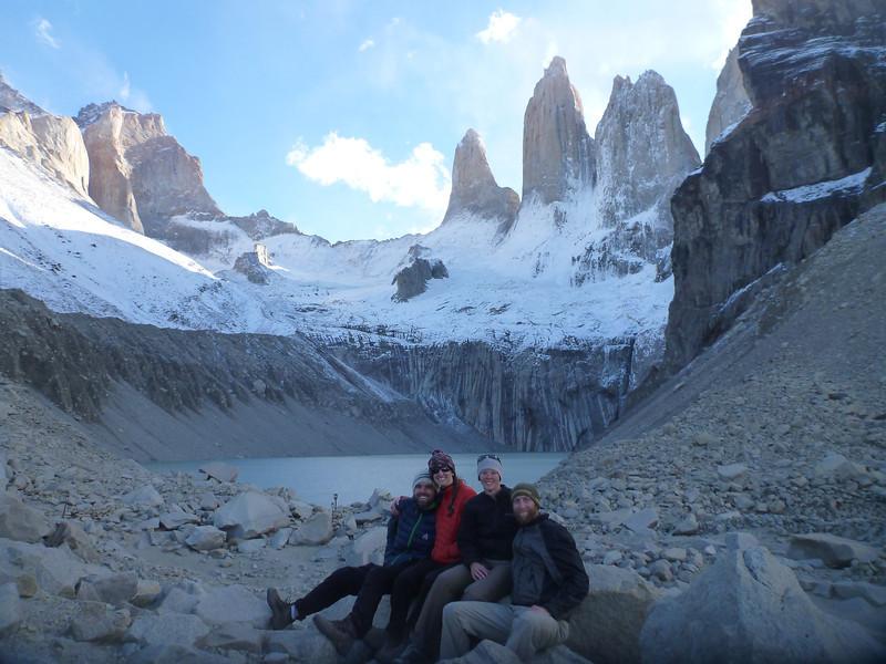 David, Christie, Jill and Mike at the mirador de las Torres, Torres del Paine