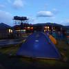 Tent city in the evening, Refugio Paine Grande, Torres del Paine