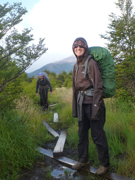 """The """"bridges"""" through the marshy valley started out really well constructed for the first few hundred meters, but then quickly transitioned into 2x4's strewn about for the next half km or so.  This is a good section for the 2x4's.  Torres del Paine."""