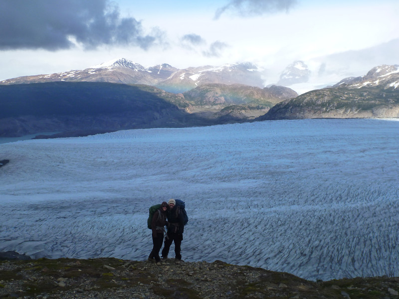 Christie and David in front of Glaciar Grey and Campo Hielo Sur, Torres del Paine