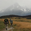 Mike, Jill, and David walking towards Cerro Paine Grande, Torres del Paine