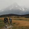 Mike, Jill, and David walking towards Cerro Paine Grande, Torres del Paine