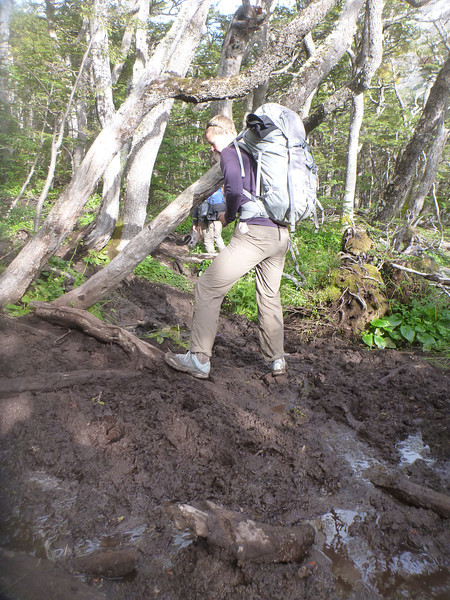 Jill maneuvering through the mud-logs, Torres del Paine