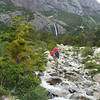 Jill during water crossing, Torres del Paine