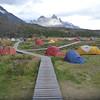 Tent city below Cerro Paine Grande, Refugio Paine Grande, Torres del Paine.