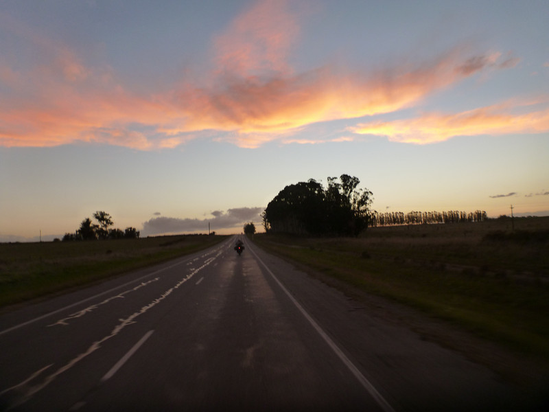 evening settles on the road to Rocha, Uruguay