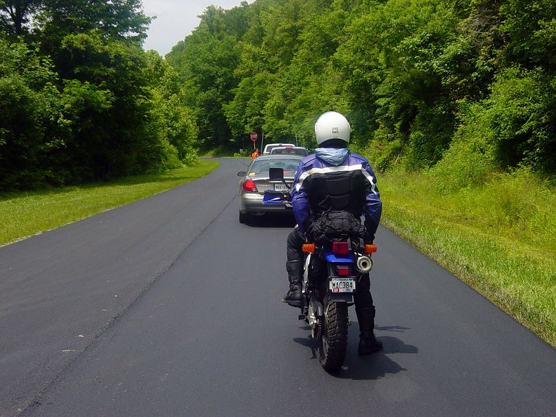 Caught in road construction below the Gap on 129...the rider was from Alabama...nice chap.